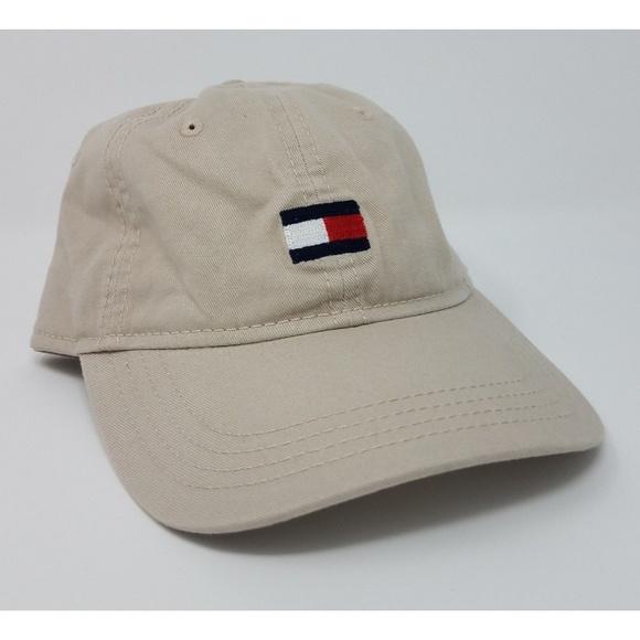 48453009 Tommy Hilfiger Accessories | Flag Box Logo Strapback Hat Beige ...